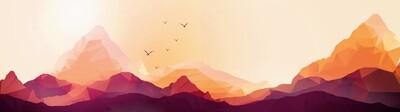 Geometric Mountain Sunset