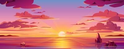 Seascape Red Sun Clouds