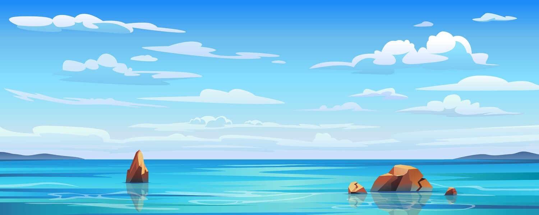 Seascape Blue Clouds