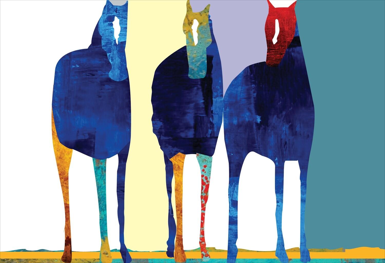 THREE BLUE HORSES