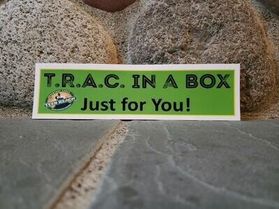 T.R.A.C. in a BOX label