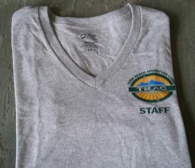 Womens V-Neck Heather Gray Staff T-Shirt