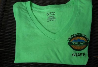 Womens V-Neck Staff Neon Green T-Shirts