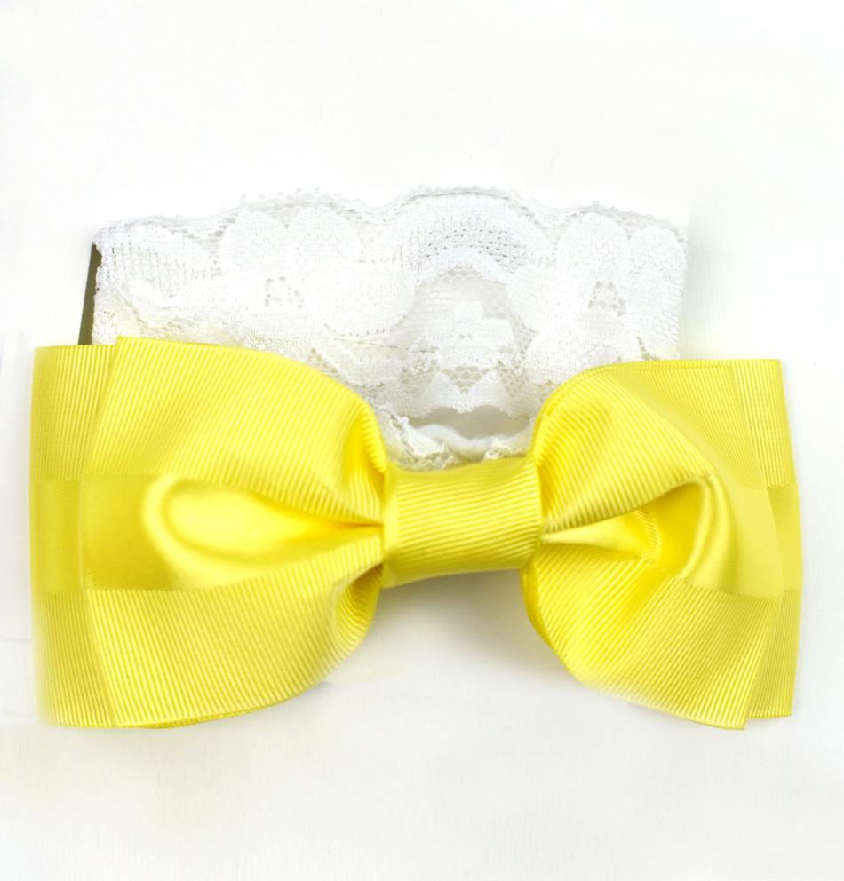 Cinta ancha de cabello con moña amarillo canario