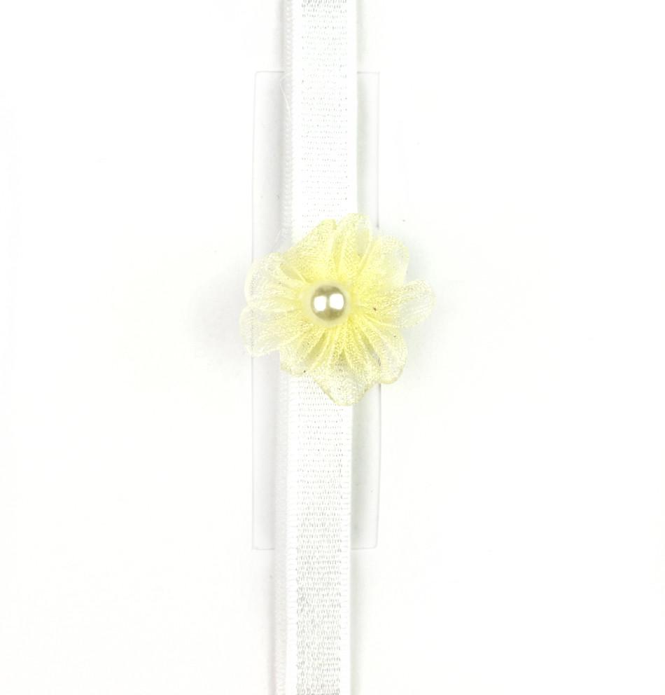 Cinta de bebé con rosita de organza y perla al centro amarillo