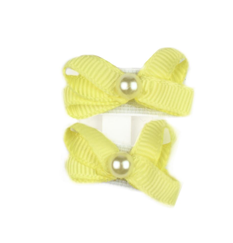Duo de moñotas con velcro y perla al centro amarillo