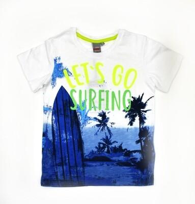 T-SHIRT KANZ - mc blanca azul Lets Do Surfing - Niño