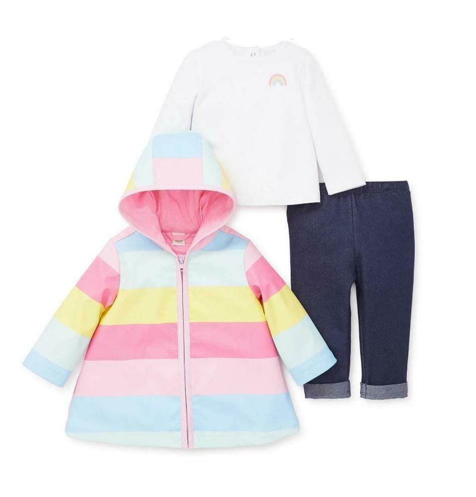 CONJUNTO LITTLE ME - Saco Arco Iris con blusa y pantalón de lona