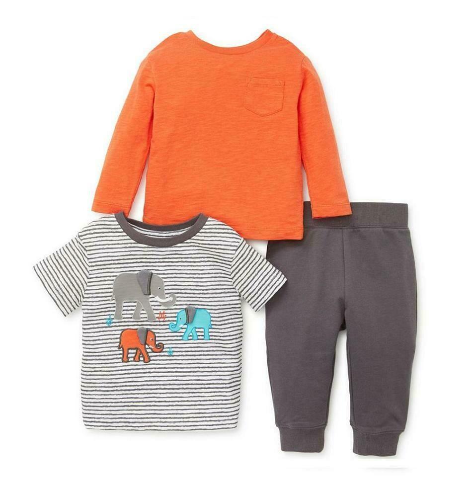 CONJUNTO LITTLE ME - para niño una camisa m/c y una m/l y pantalón de pants, Elefante