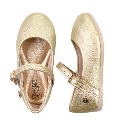 KLIN - Princesa Baby - Zapato vestir con corazones grabados oro rosa para niña