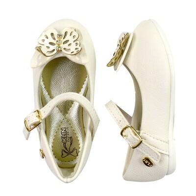 KLIN - Princesa Baby - Zapato vestir con mariposa blanco para niña