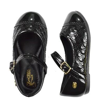 KLIN - Princesa Baby - Zapato vestir enguatado negro para niña