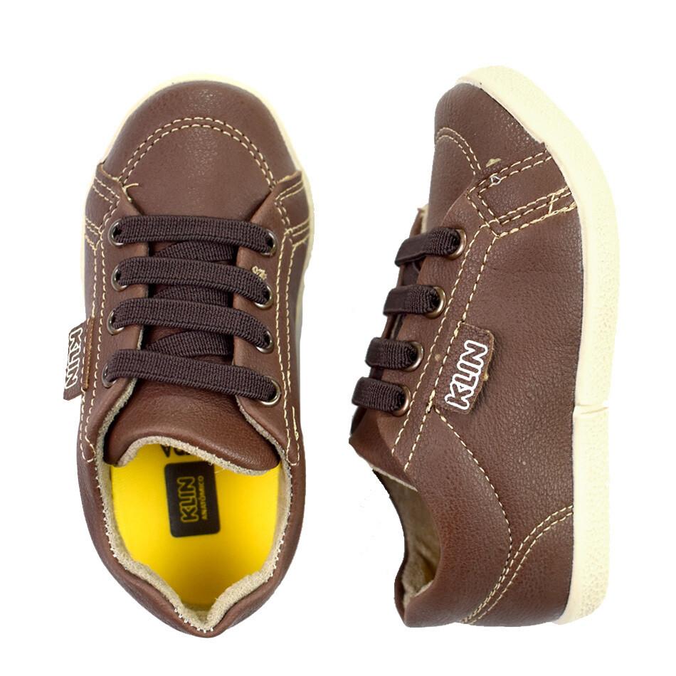 KLIN - Baby Flyer - Zapato casual amarrado café para niño
