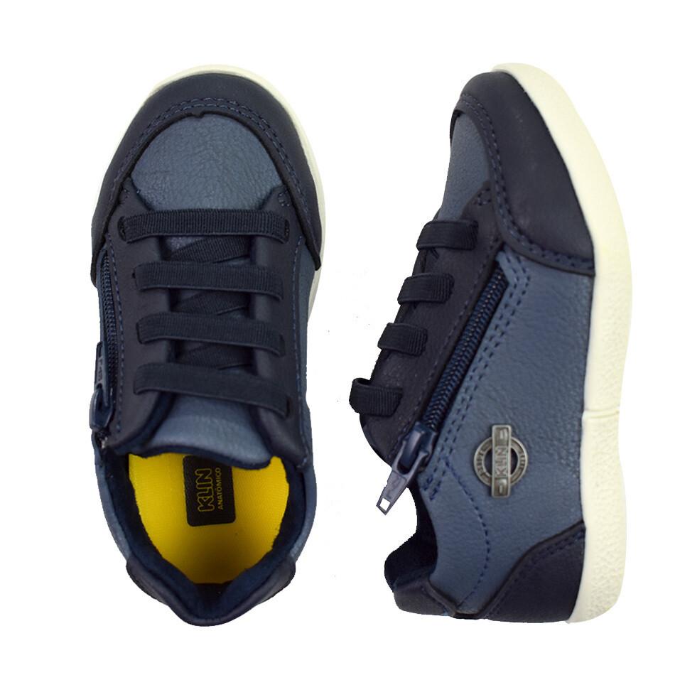 KLIN - Baby Flyer - Zapato casual amarrado con Zipper azul para niño