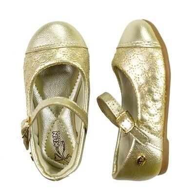 KLIN - Princesa Baby - Zapato vestir enguatado dorado para niña