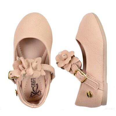 KLIN - Princesa Baby - Zapato vestir con flores en traba rosado para niña