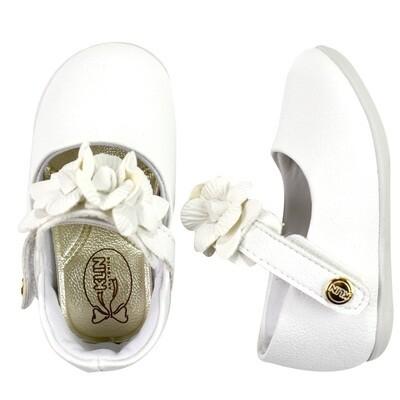 KLIN - Princesa Baby - Zapato vestir con flores en traba blanco para niña