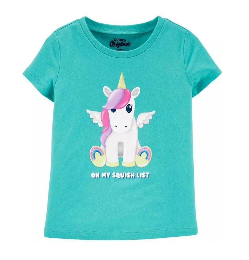 T-SHIRT OSHKOSH - niña m/c celeste con estampado de unicornio