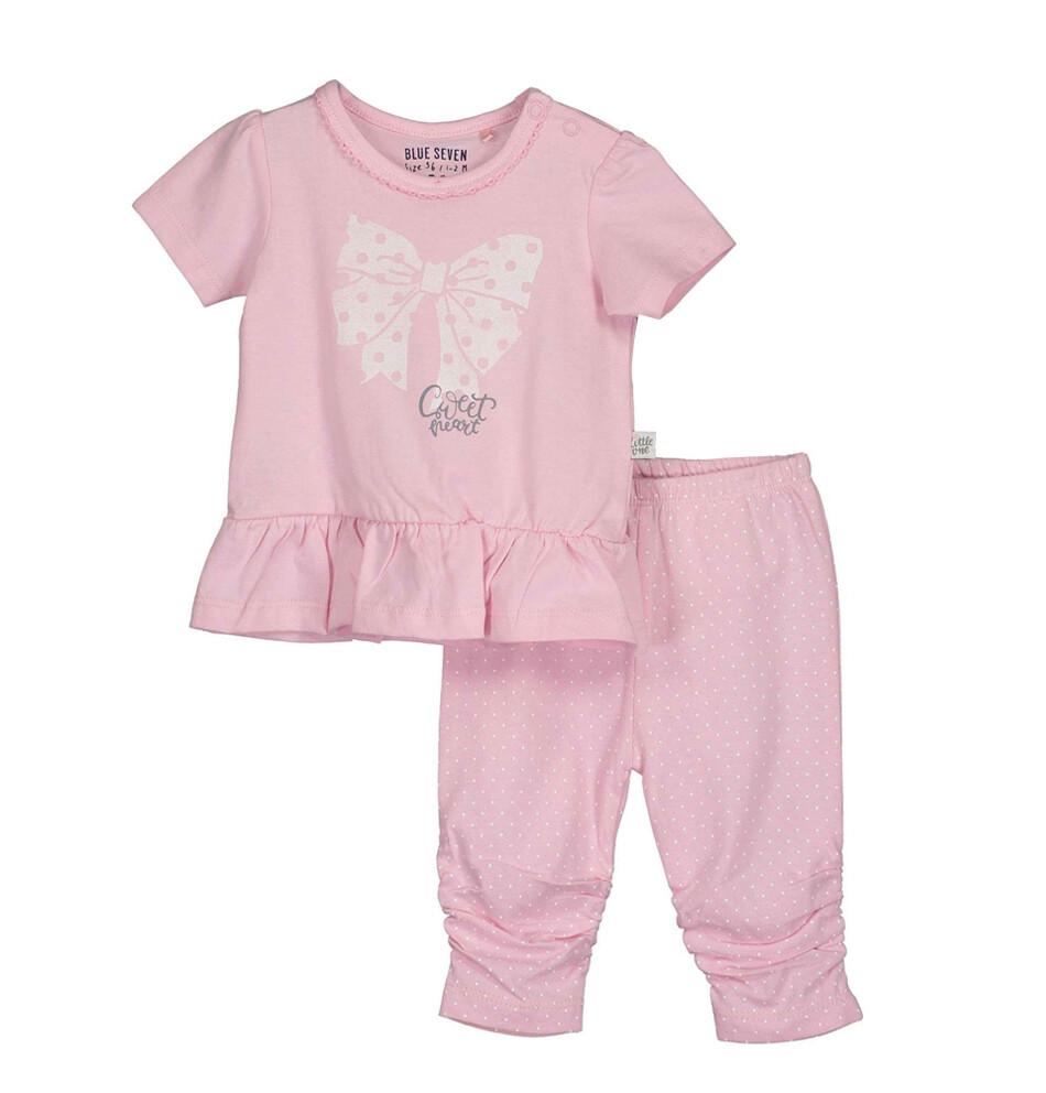 CONJUNTO BLUE SEVEN- blusa m/c y pantalón rosado, niña