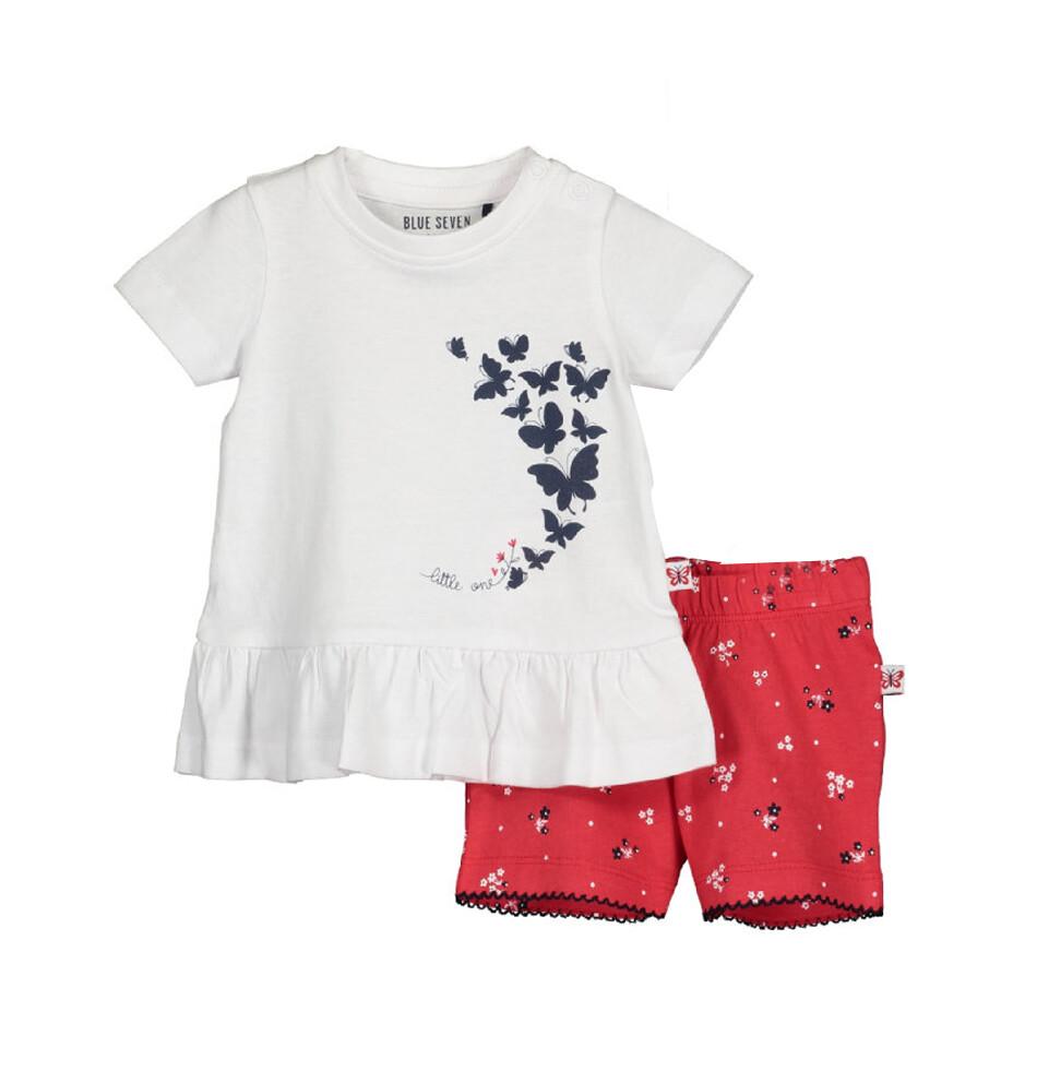 CONJUNTO BLUE SEVEN - blusa m/c  blanca y short, niña, Cute Butterfly