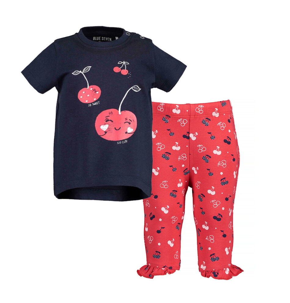 CONJUNTO BLUE SEVEN - blusa azul marina c/cerezas y leggings rojos estampados con vuelo, Cherry Lady