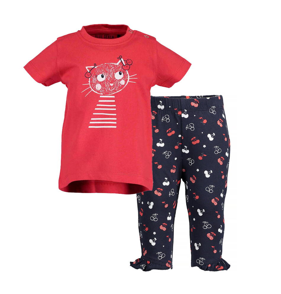 CONJUNTO BLUE SEVEN - blusa roja c gato y leggings azul estampados con vuelo, Cherry Lady