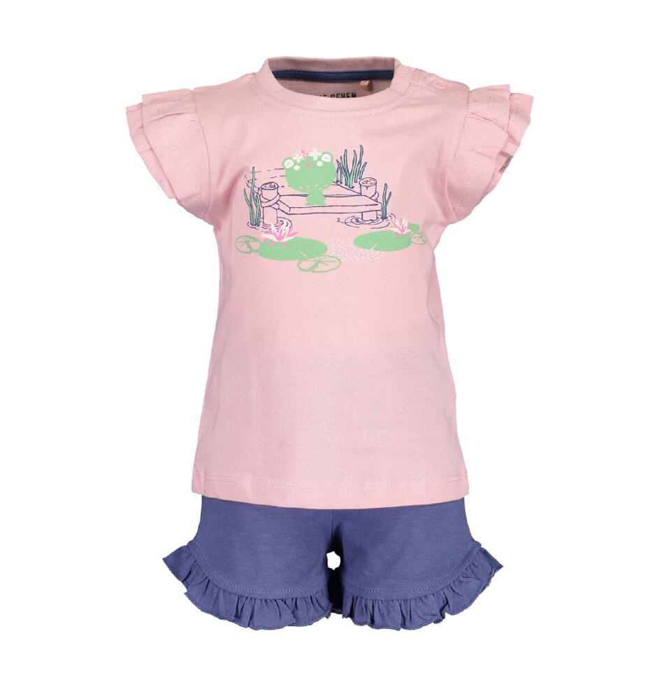 CONJUNTO BLUE SEVEN - blusa m/c y short verde, niña, Magic Pond