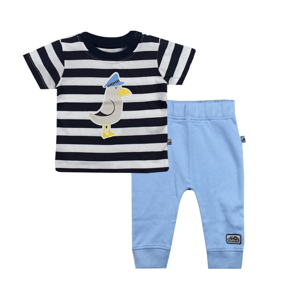 CONJUNTO BLUE SEVEN - Camisa rayada azul y blanco, pantalón de interlock celeste, Ahoy There - Niño