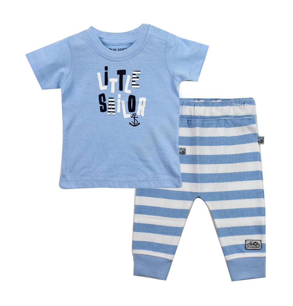 CONJUNTO BLUE SEVEN -  camisa celeste Little Sailor, pantalón de interlock rayado, Ahoy There - Niño