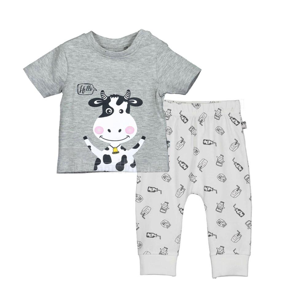 CONJUNTO BLUE SEVEN - Camisa gris con estampado de vaca y pantalón blanco estampado, Milk - Niño
