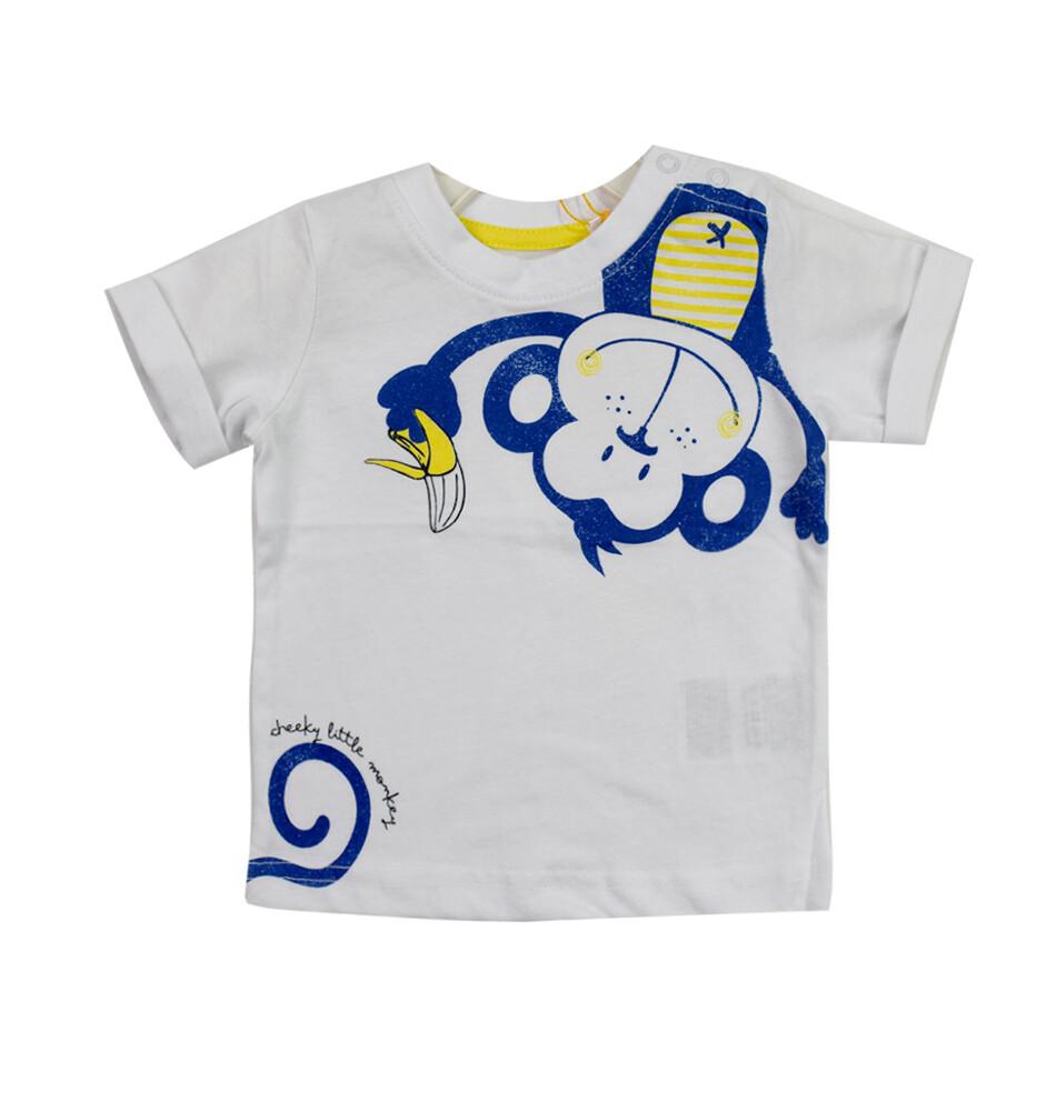 T-SHIRT BLUE SEVEN - m/c blanca, niño, Cheeky Monkey