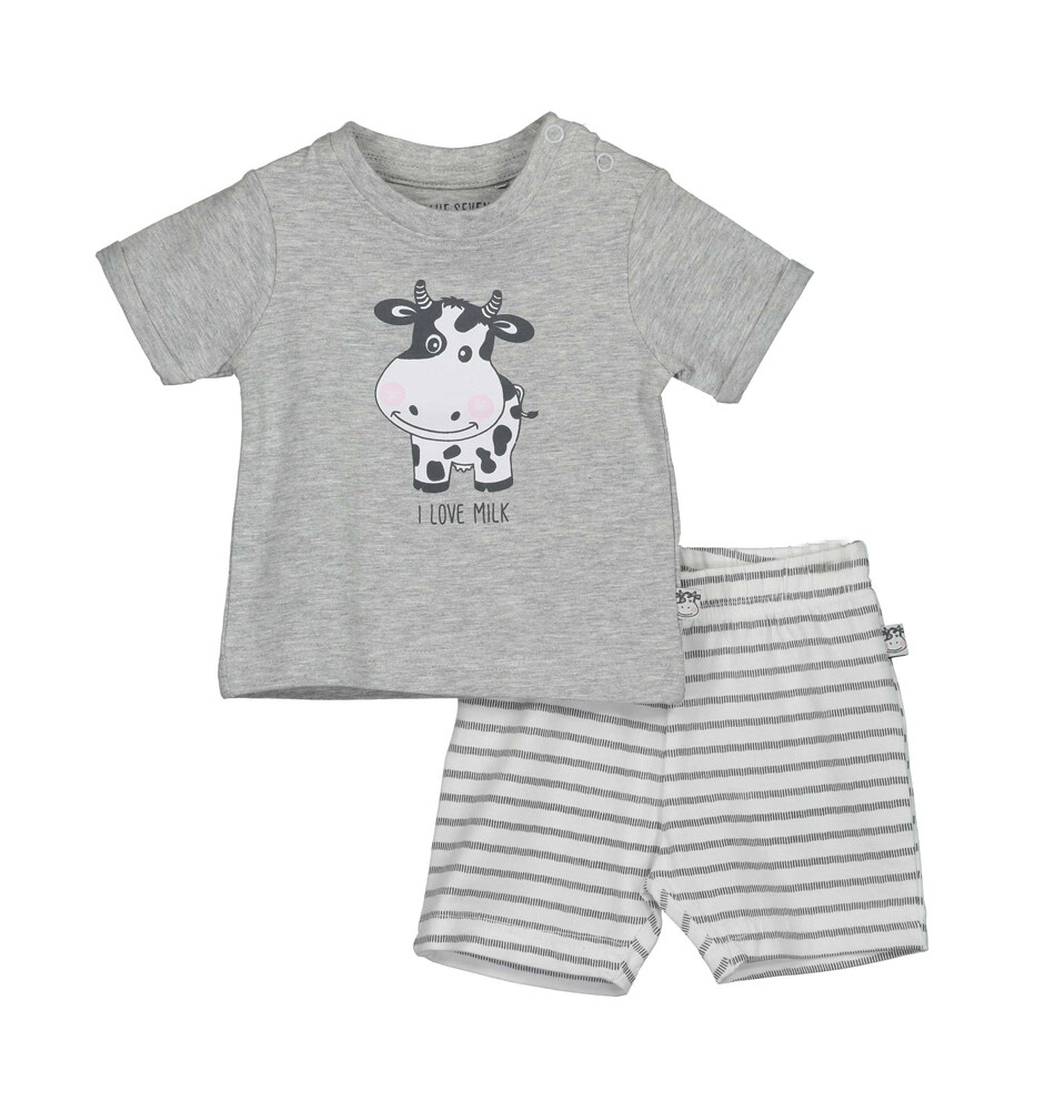 CONJUNTO BLUE SEVEN - Camisa m/c gris, short rayado, Milk