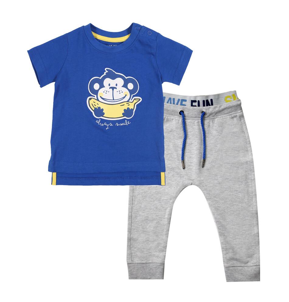 CONJUNTO BLUE SEVEN - Camisa azul estampada Always Smile, pantalón de pants gris, Cheeky Monkey - Niño