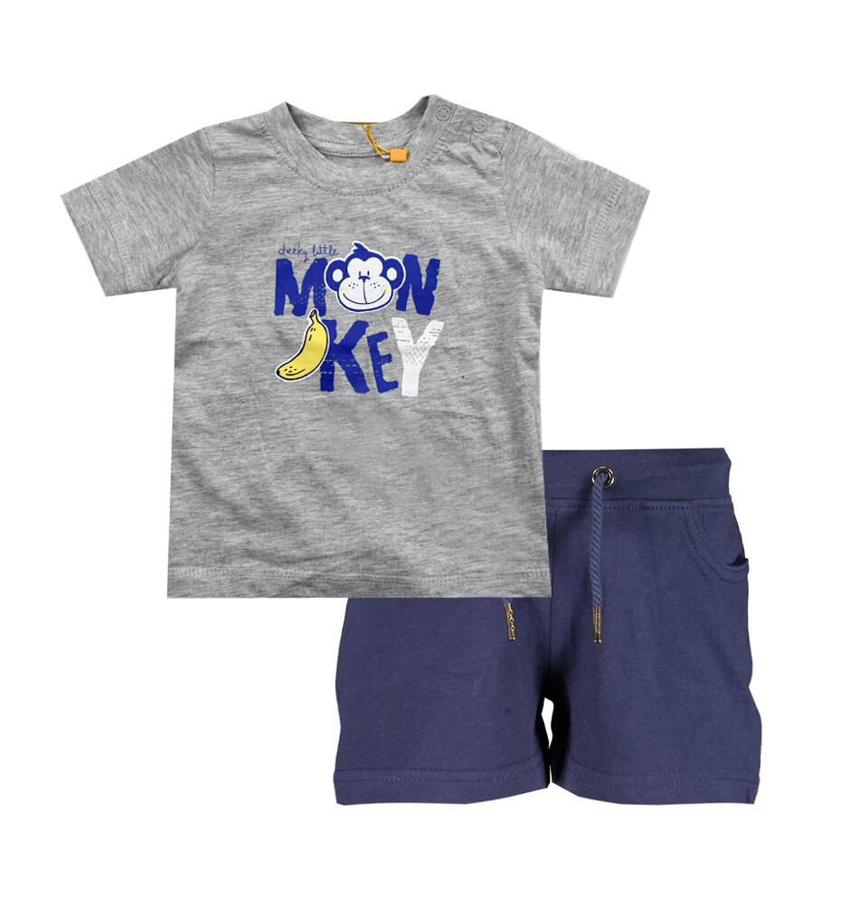 CONJUNTO BLUE SEVEN - t-shirt m/c y short, gris, niño, Cheeky Monkey