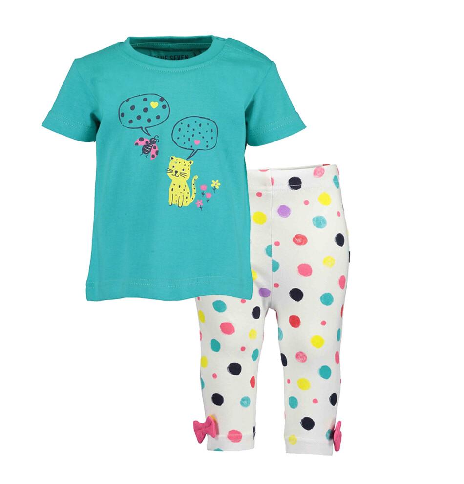 CONJUNTO BLUE SEVEN - blusa verde con estampado y leggings blancas con bolas de colores, Miss Dots - Niña