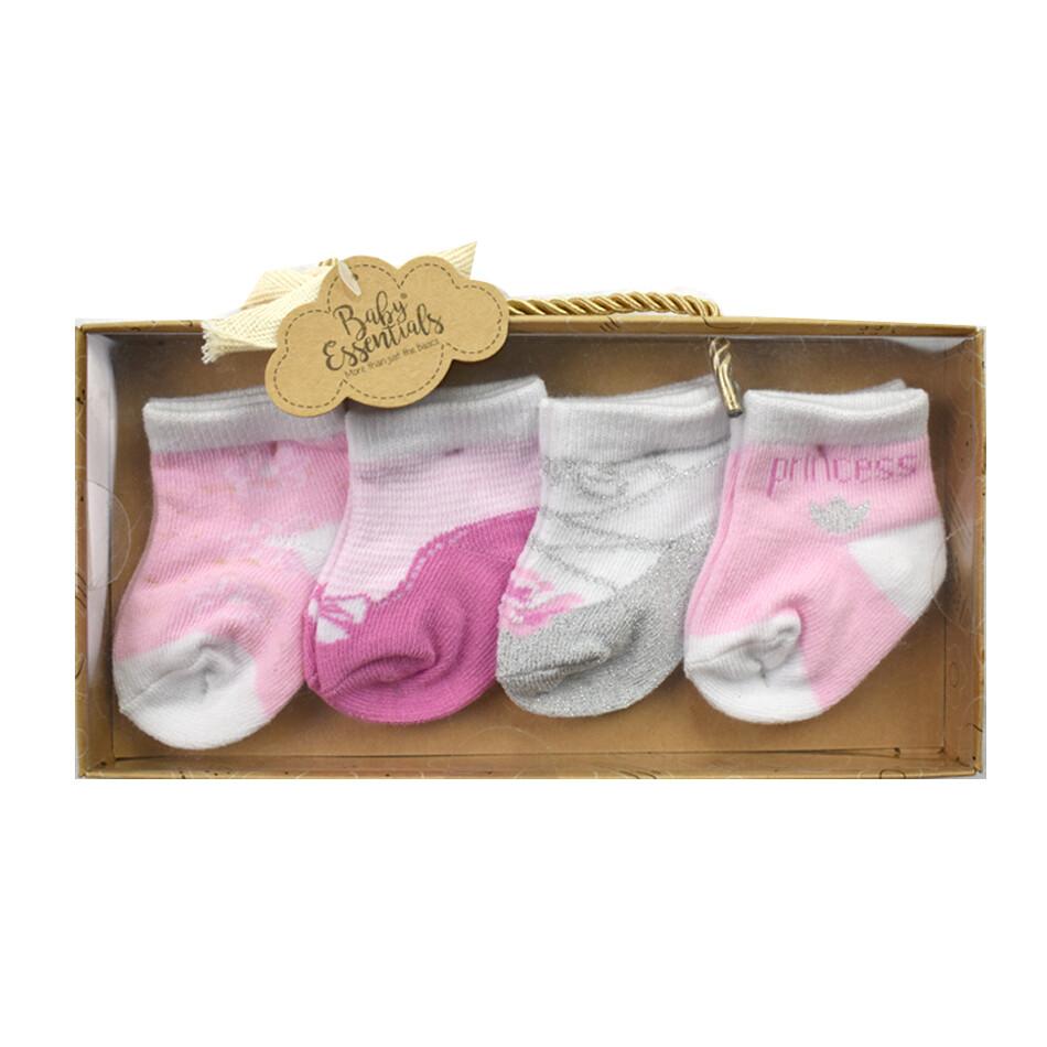 AD SUTTON - Set de regalo, 4 pares de calcetas Princess - Niña