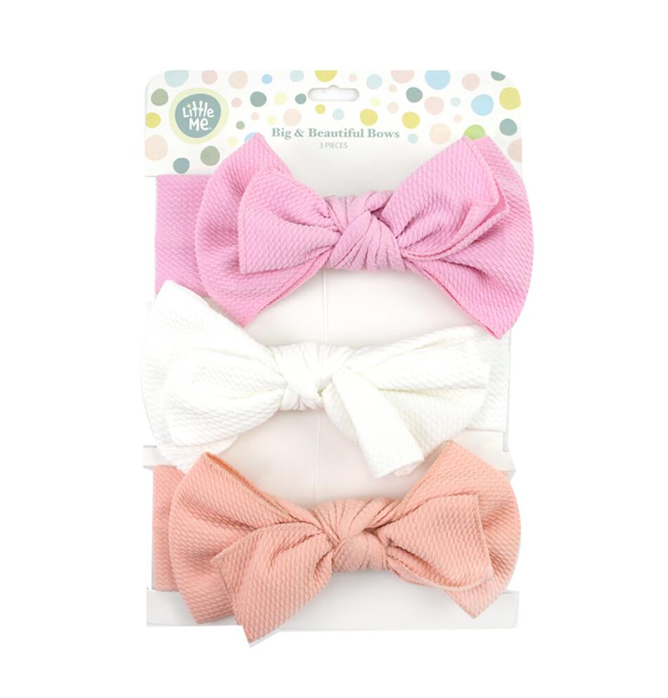 LITTLE ME - 3pk diadema tejido de wafle, rosado, blanco y coral