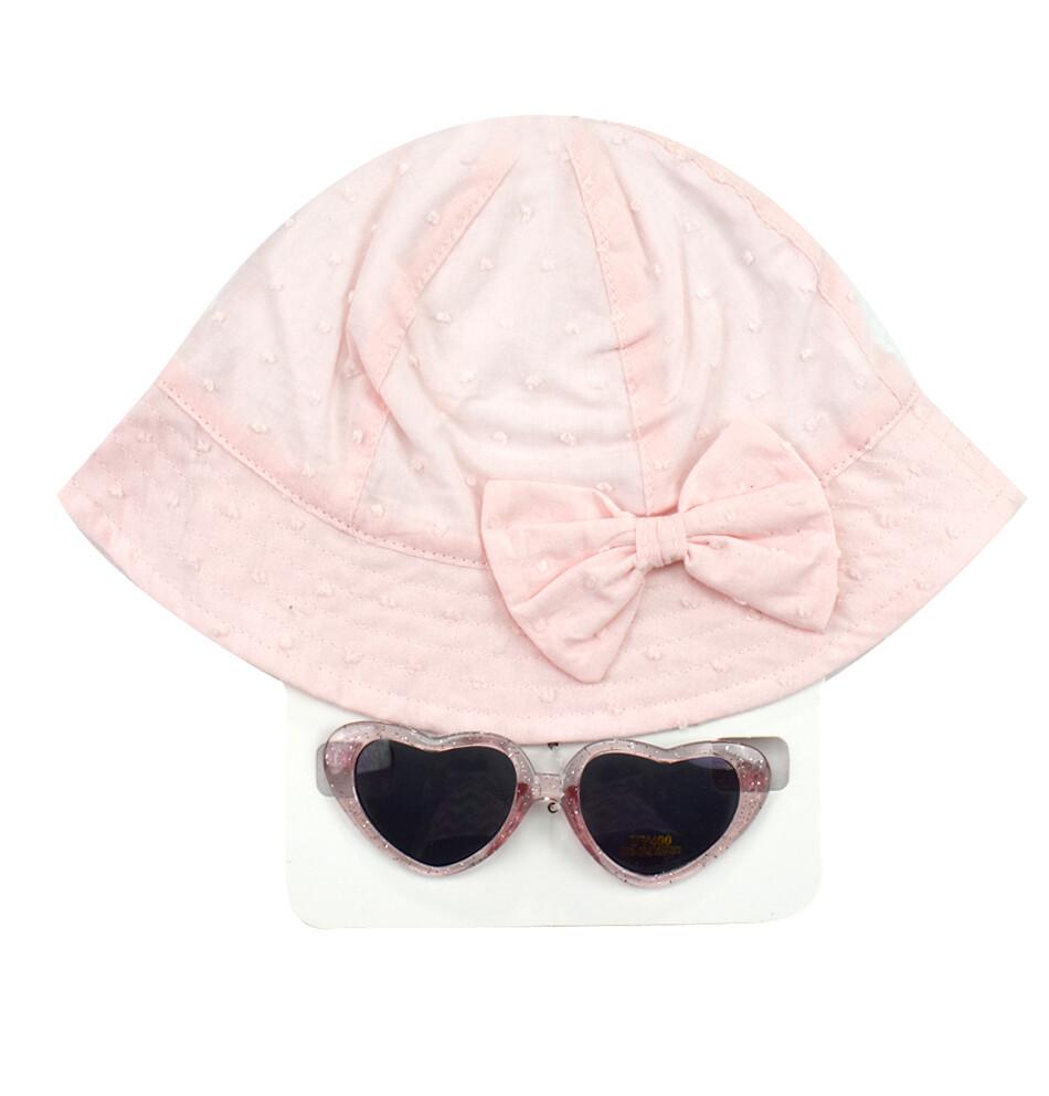 LITTLE ME - Lentes de sol y sombrero rosados