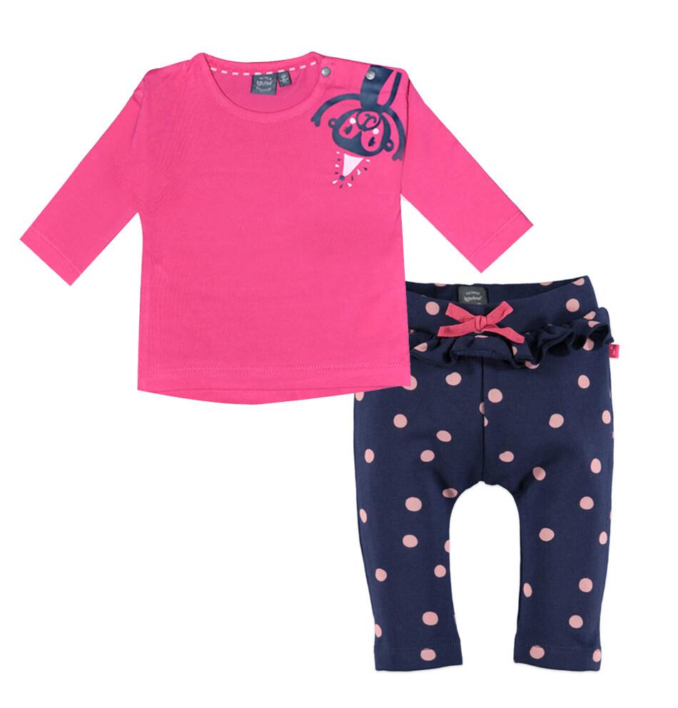 CONJUNTO BABY FACE - T-shirt rosada con mono pantalón de pants de bolas con vuelitos