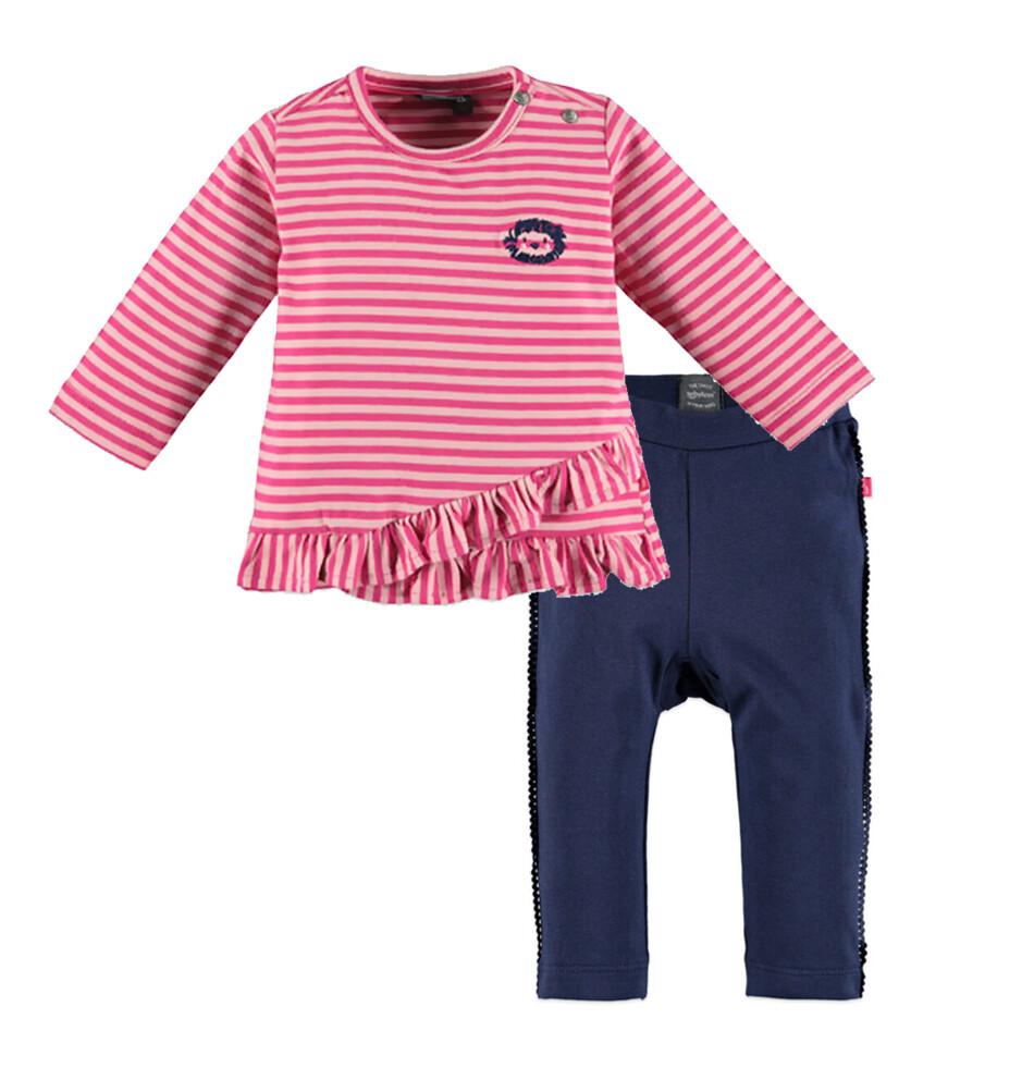 CONJUNTO BABY FACE - Conjunto T-shirt rayada con vuelo, rosado  y leggings  azul