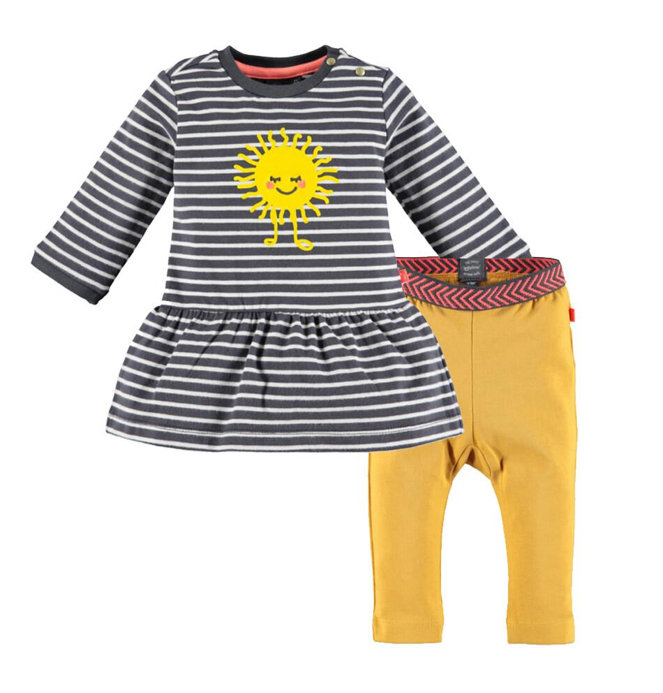 CONJUNTO BABY FACE - vestido de tela de sudadero m/l rayado, gris y blanco leggings liso amarillo oro