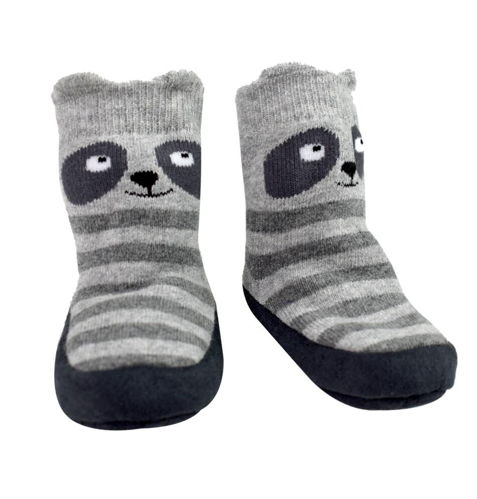 CARTERS - Pantufla tipo calceta rayada con mapache