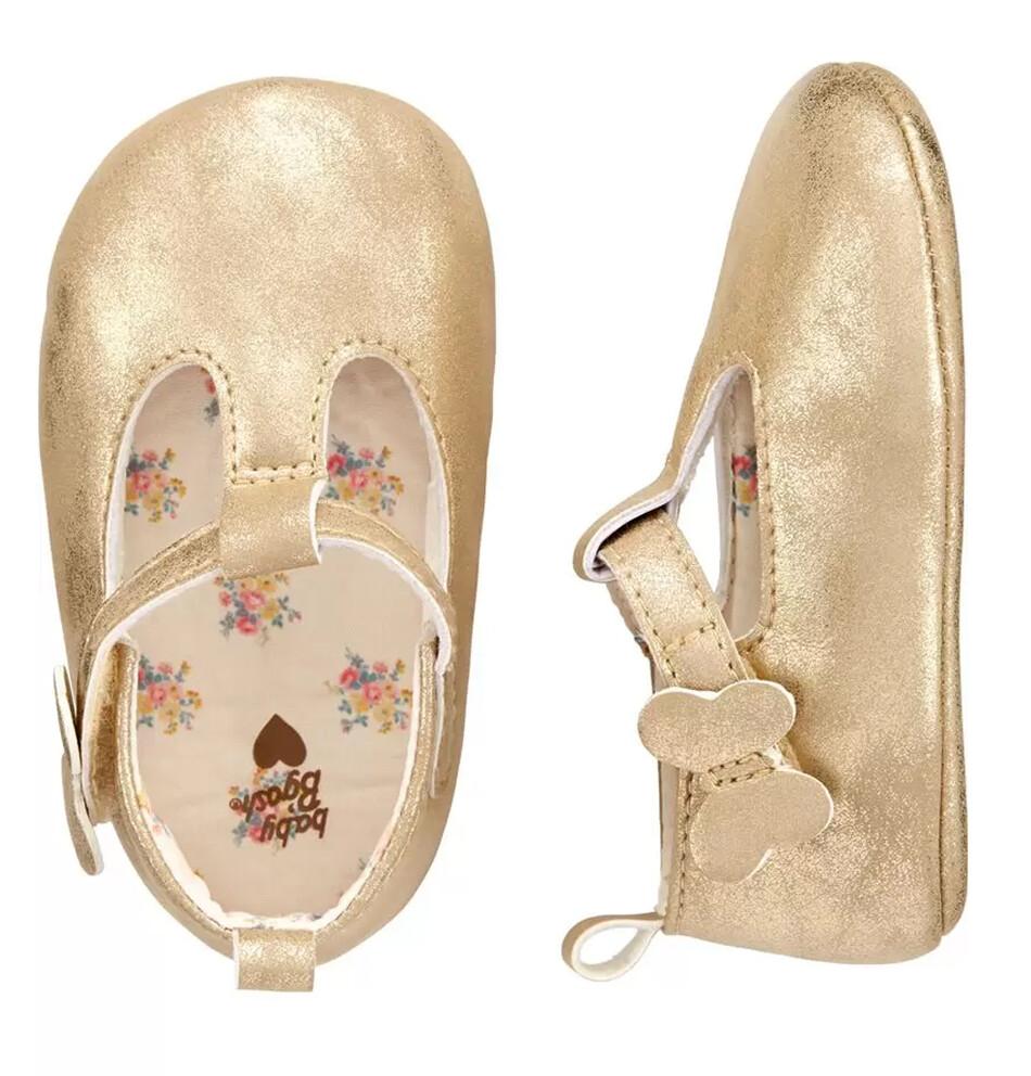 OSHKOSH - Zapatos de niña dorados con mariposa