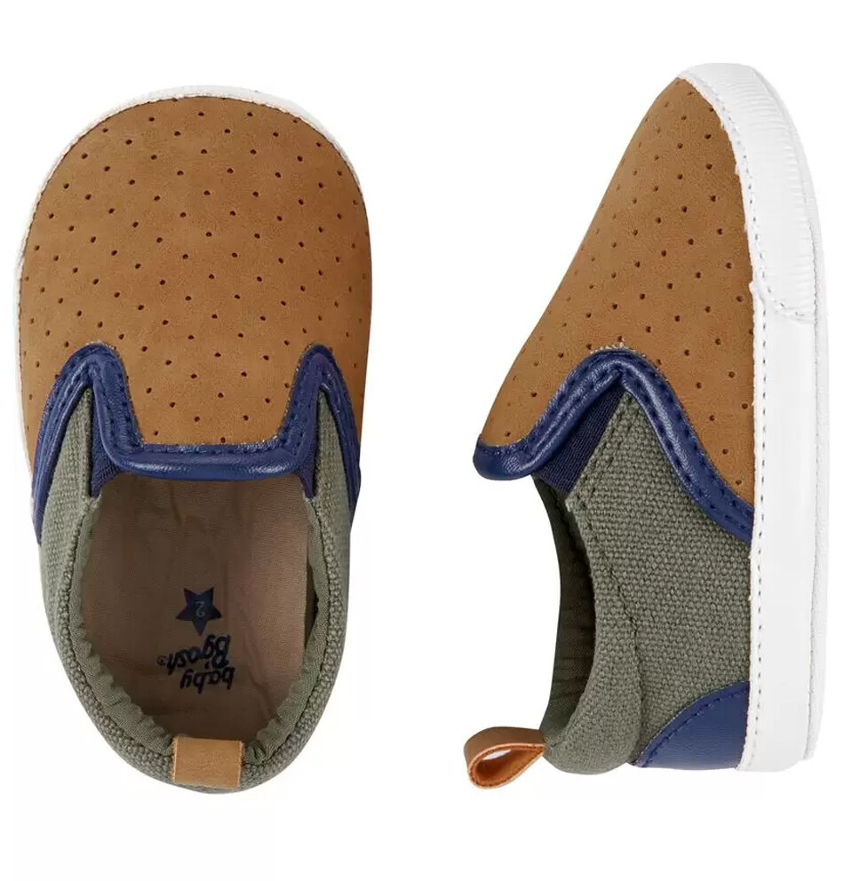 OSHKOSH - Zapato, café tenis de meter canvas perforado, café gris y azul para niño