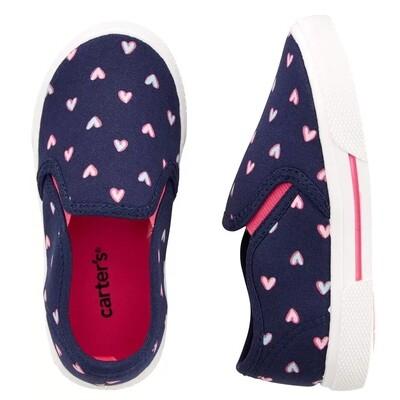 CARTERS - Zapato casual de meter azul con corazones rosados, DAMON
