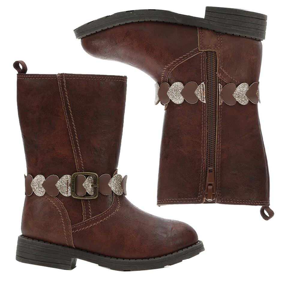 CARTERS - Botas altas con zipper y cincho de corazones, cafes, AURA