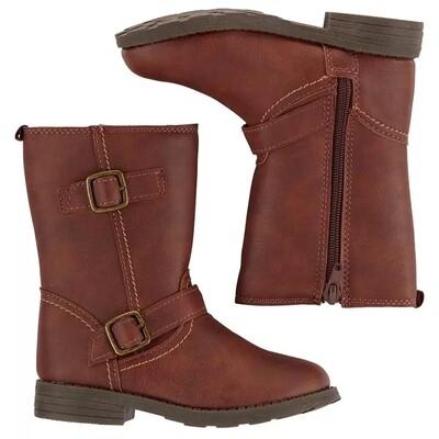 CARTERS - Botas altas con zipper y dos cinchos, café obscuro, ERICA
