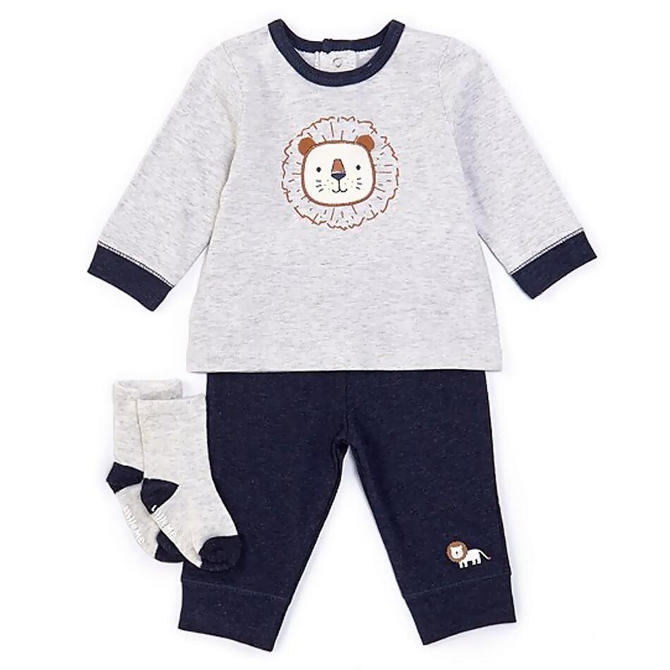 CONJUNTO LITTLE ME - sudadero blanco con león, pantalón azul y calcetines