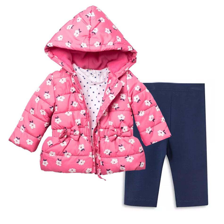 CONJUNTO LITTLE ME - chumpa rosada de flores, blusa m/l y leggings azules