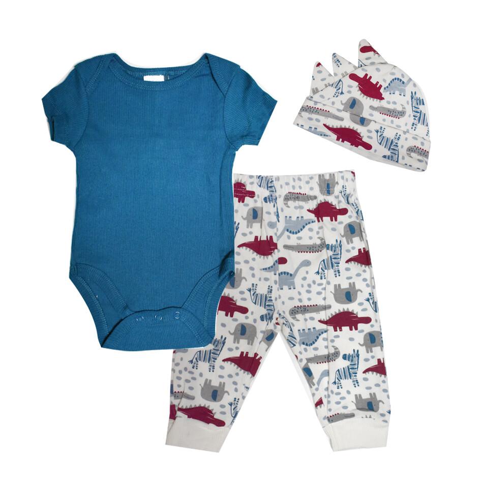 CONJUNTO CHICK PEA - camisa m/c lisa, pantalón sin pies estampado, azul marino